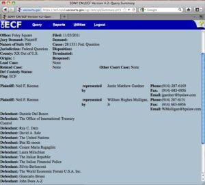 For those that want proof of this lawsuit, here is a screenshot of the filed case. This comes from pacer.gov, which is used to look up filed cases. Take a look at the plaintiff and defendants.
