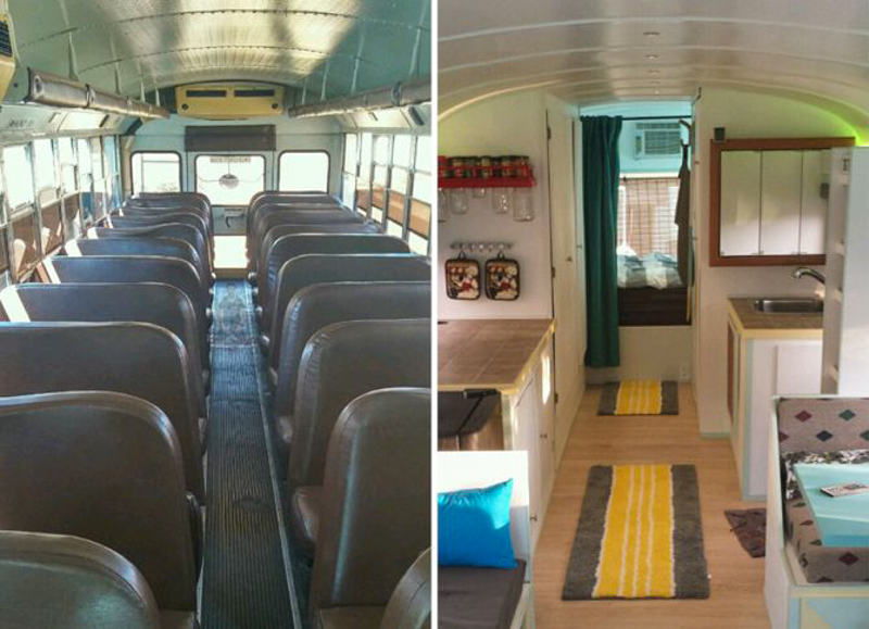 school bus living room