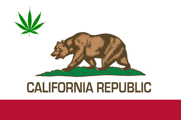 California state flag with green marijuana leaf inserted