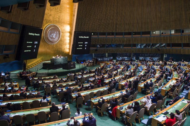 123 countries voted in favor of the resolution. Source