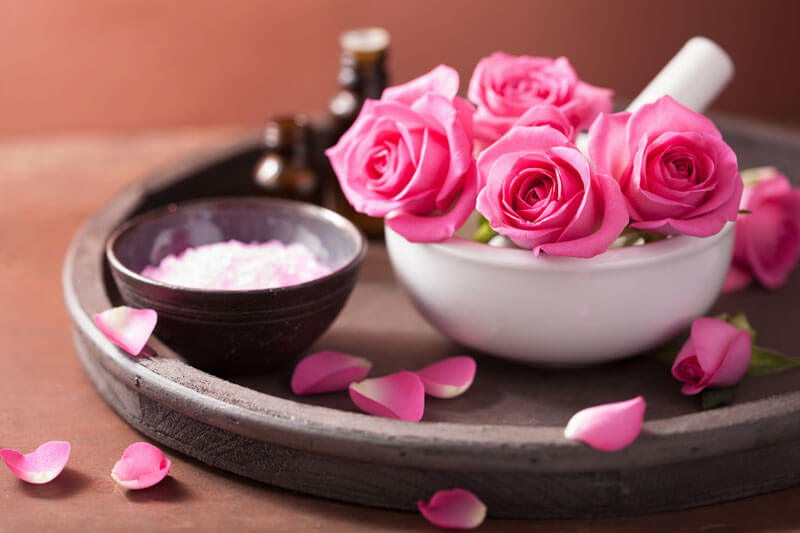 Rose essential oil has a wonderful smell.