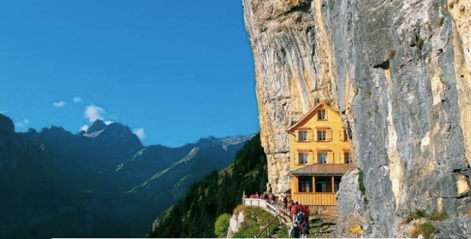 Ascher Cliff restaurant is nestled into the side of a mountain in Switzerland.