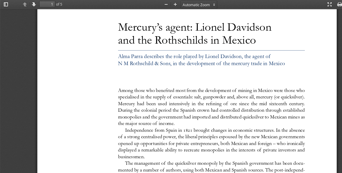 The Rothschild Mercury Mines of Almadén: Population Control Agent of Antiquity Rothschild