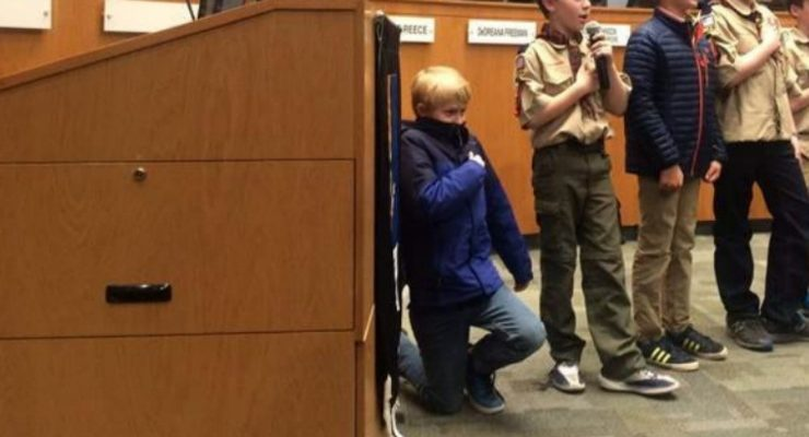 10-Year-Old Boy Scout Taking a Knee During Pledge of Allegiance