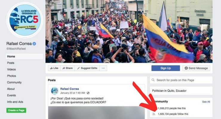 Facebook Removes Rafael Correa Page