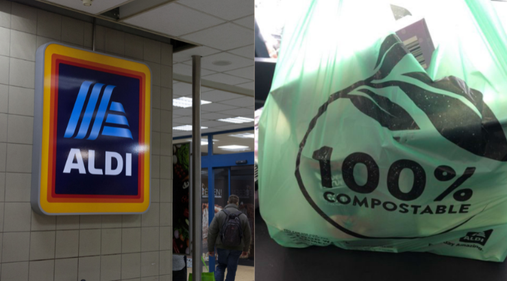 Aldi Set to Replace 12.5 Million Single Use Plastic Bags With Compostable Bags Aldi-replace-single-use-plastic-bags-with-compostable-bags-740x410